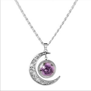 Jewelry - Silver moon purple rose pendant under a dome
